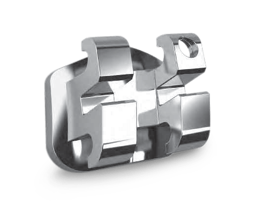 Image of Ormco's Mini Diamond Twin Bracket. A miniature, more aesthetic bracket used for braces, than the traditional stainless steel bracket.